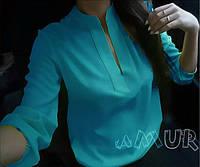 Блузка женская Марлен голубая , блузы женские