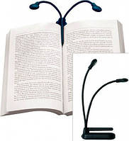 Фонарик для чтения: две головы с LED-диодами, регулировка яркости, гибкая основа, крепежная клипса, 3хААА