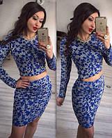 Шикарный неопреновый костюм: кофта и юбка с красивым узором, съемное ожерелье