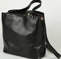Классическая женская сумка из натуральной кожи чёрного цвета
