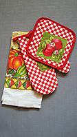 Кухонный набор прихватка, рукавица, полотенце с урожаем
