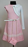 Платье для девочки с кружевом и болеро, нежно розовое
