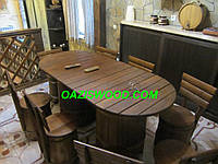 """Набор мебели """"МАКСИ плюс"""" из дубовых бочек для бани и сауны."""