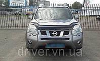 Дефлектор капота (мухобойка) Nissan X-Trail (T31) 2007-2014, на крепежах