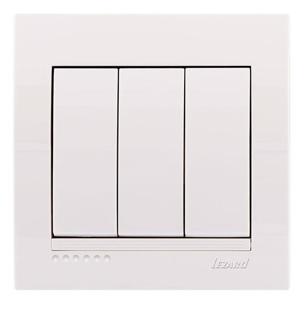 Lezard Deriy Выключатель тройной Белый