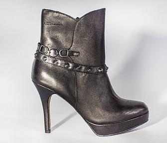 Ботильоны женские черные кожаные демисезонные на высоком каблуке Tamaris, фото 2