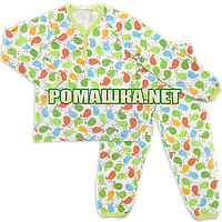 Детская плотная пижама унисекс р. 104 демисезонная ткань ИНТЕРЛОК 100% хлопок 3378 Зелёный