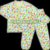 Детская плотная пижама унисекс р. 110 демисезонная ткань ИНТЕРЛОК 100% хлопок 3378 Зелёный