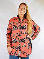 Длинная рубашка (туника), большие р-ры (54-56), коралловая с цветами