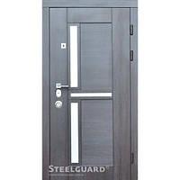 Двери входные металлические с МДФ Steelguard™ модель Neoiine Венге тёмный/белый шёлк