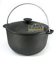 Казан чугунный туристический 6л 26см с чугунной крышкой и дужкой, посуда чугунная Биол (0706)