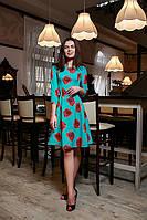 Нарядное женское платье 797-1 бирюза Маки (С.Л.З)
