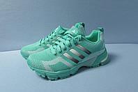 Женские кроссовки Adidas (7305-1) бирюзовые с белым код 2802А