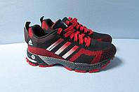 Женские кроссовки Adidas (7305-2) черно-красные код 2803А