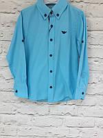 Рубашка детска синяя  для мальчиков 2-12 лет