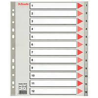 Разделители Esselte A4 пластиковые из ПП цифровые 1-12 maxi 100125