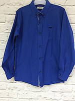 Рубашка детская, синяя для мальчиков 2-12 лет