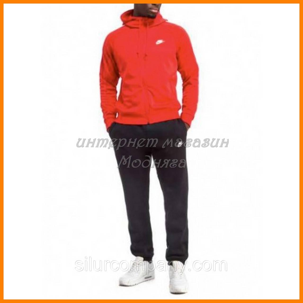 Спортивный костюм Nike красная кофта и черные штаны - Интернет магазин