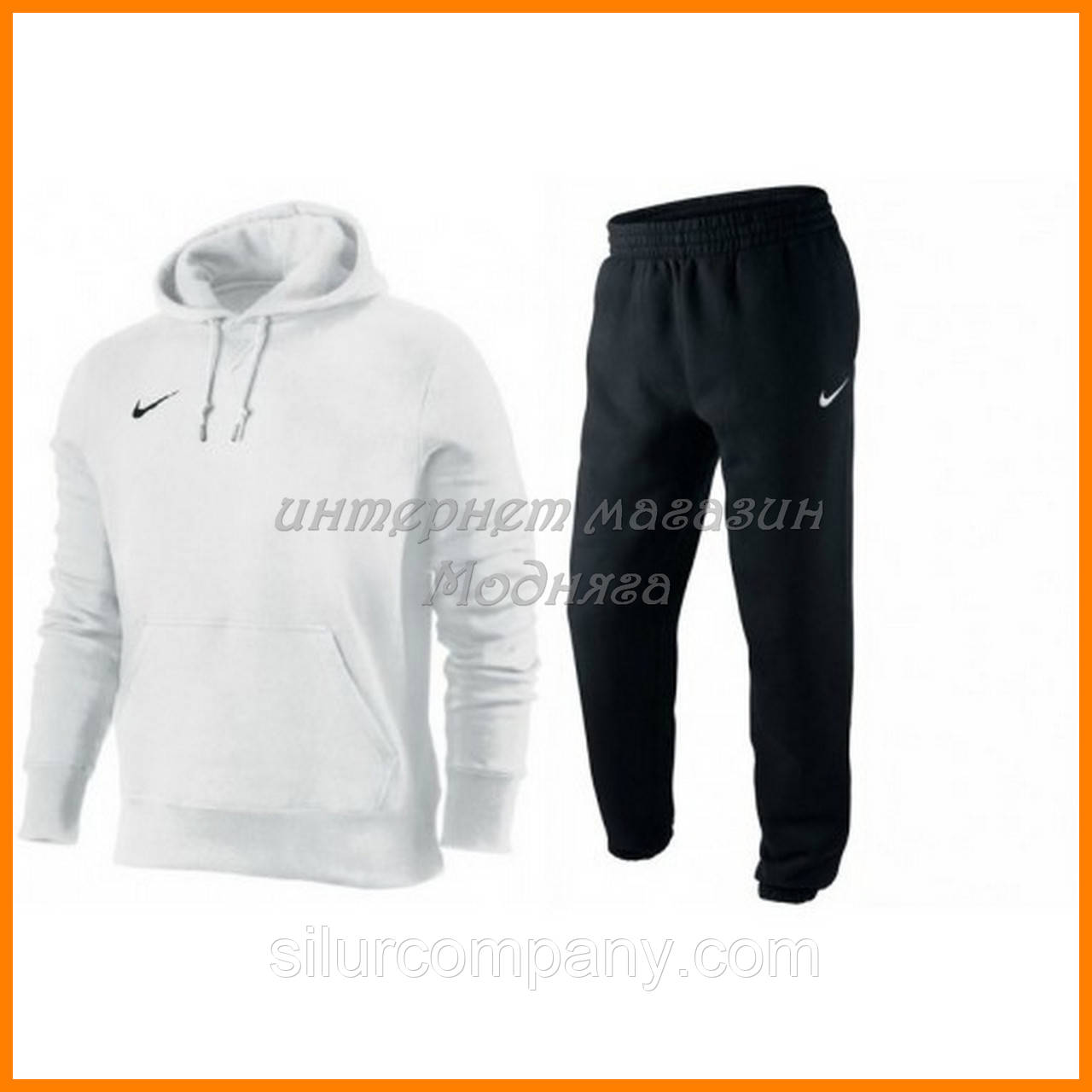 394b3199b733 Белый Спортивный костюм Nike с капюшоном - Интернет магазин