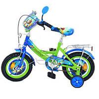 Велосипед детский 16 дюймов мульт Чима двухколесный зелено-голубой Profi P1649CH
