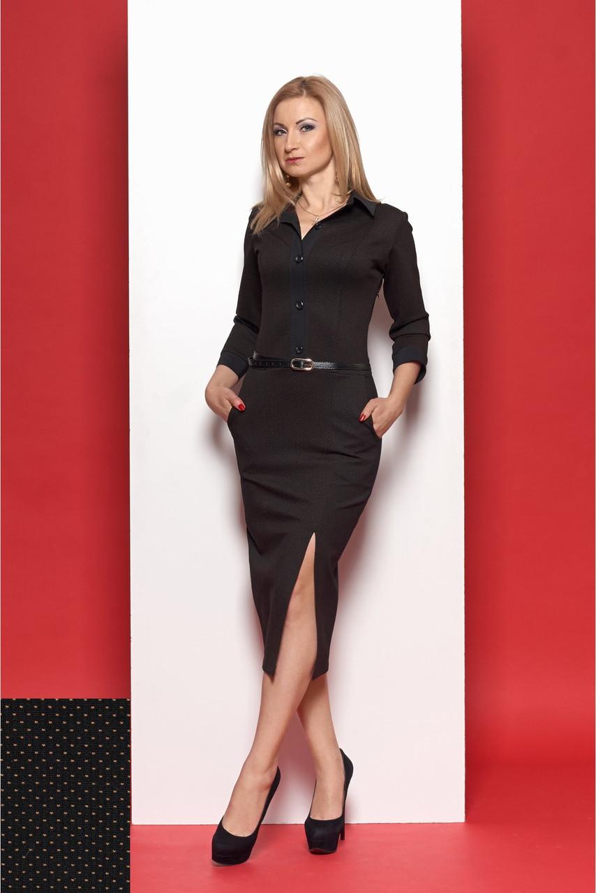 Трикотажное платье делового стиля цвет чёрный с мятным