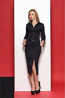 Трикотажное платье делевого стиля цвет  чёрный с синим