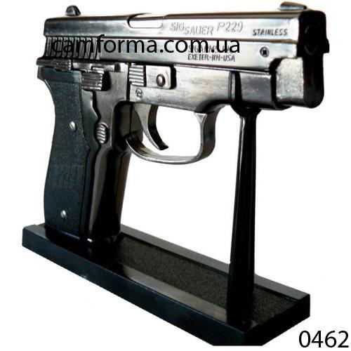 Зажигалка пистолет настольный на подставке арт(0462)