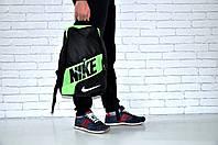 Городской рюкзак спортивный, для ноутбука черный+салатовый