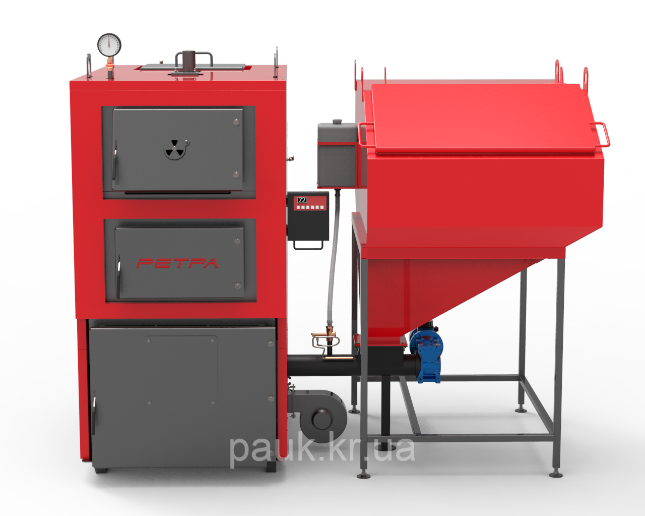 Котел РЕТРА-4МCombi-40 кВт з ретортним пальником твердопаливний сталевий