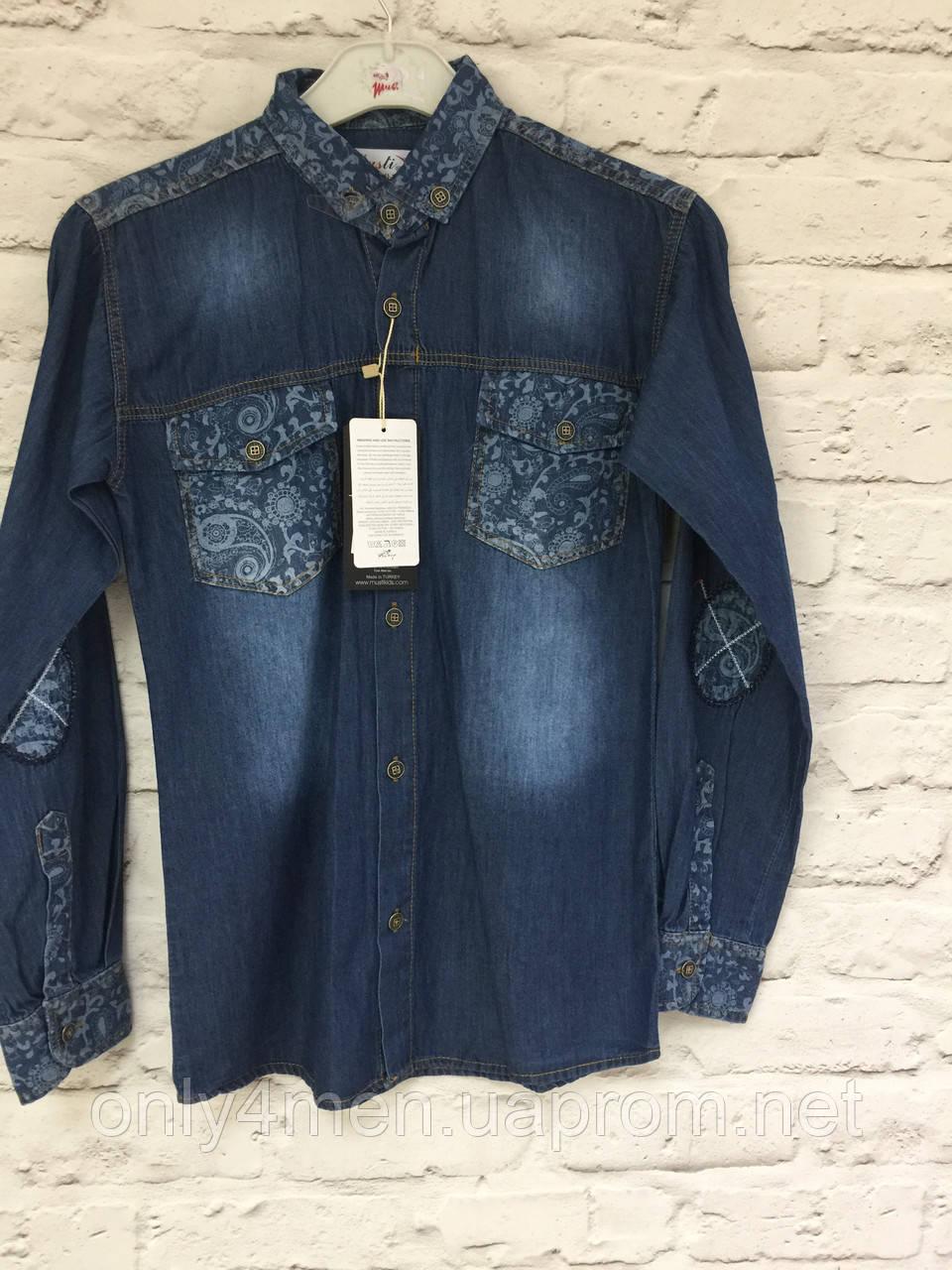 Рубашка джинс, одежда для мальчиков 146-170