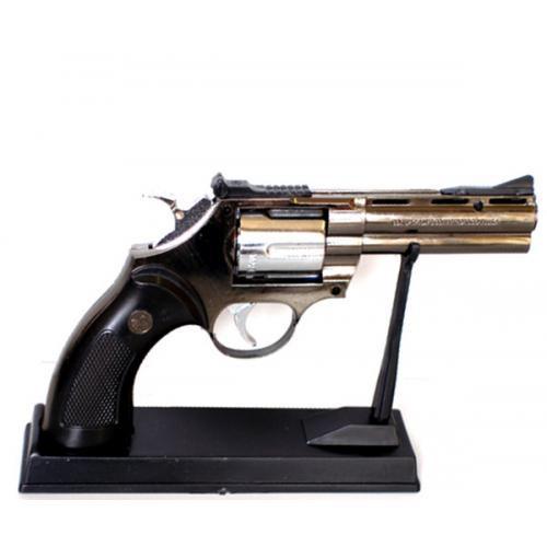 Зажигалка револьвер настольный на подставке арт(239)