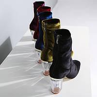 Ботильоны женские- Бархатные , с прозрачным каблуком.Новейшая Коллекция 2017 Весна!