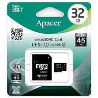 Apacer microSDHC 32GB UHS-l Class 10 (с адаптером)