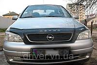 Дефлектор капота (мухобойка) Opel Astra G 1998-2012, на крепежах