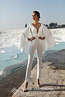 Модный свадебный комбинезон с ажурным верхом и V-образным вырезом на спине