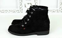 Женские замшевые ботинки на шнурках