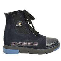 Стильные женские ботинки на шнуровке, синий замш, фото 1