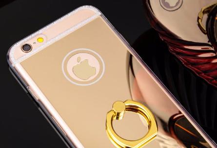 Зеркальный золотой силиконовый чехол iphone 5/5S с кольцом