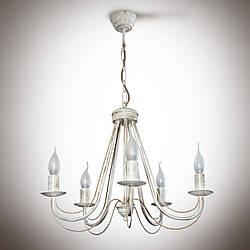 Люстра белая классическая 5-ти ламповая со свечами на цепи 30105