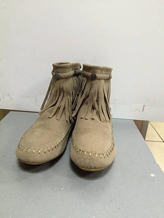 Ботиночки женские короткие бежевые с бахрамой Super Moda, фото 2