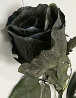 Чёрная роза бутон (цветок розы) на ветке искусственная