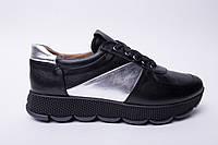 Кроссовки №374-9 черный + серебро, фото 1
