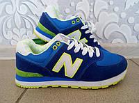 Женские кроссовки NB New Balance 574 синего цвета с белой буквой, синий цвет