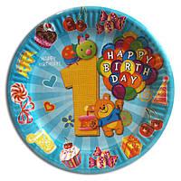 """Тарелки бумажные одноразовые детские """"Первый годик мальчика"""" голубые, 18 см, 10 шт/уп."""