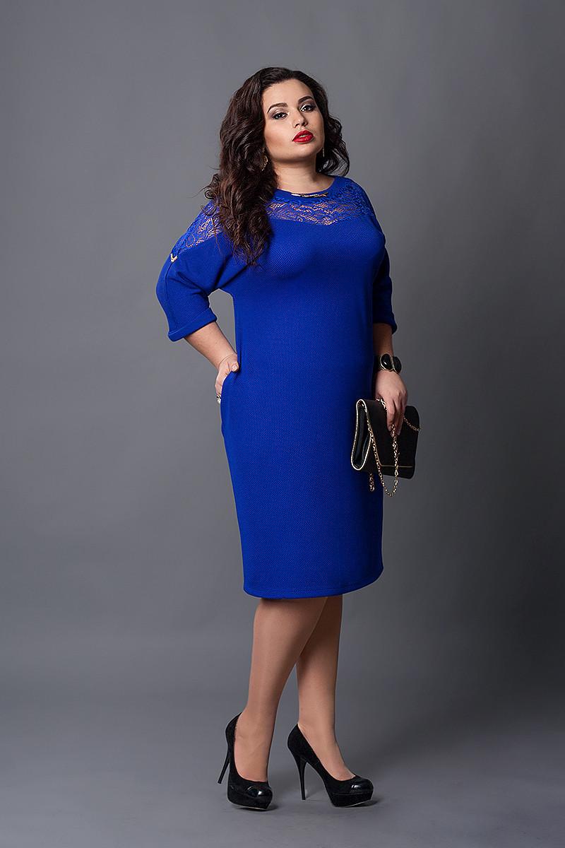 Платье мод №508-3, размер  54-56 56-58 eлектрик