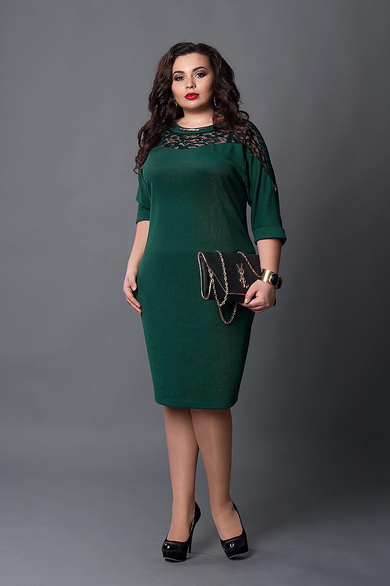 Платье мод №508-4, размер 50-52  зеленое