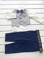 Детский нарядный костюм - жилетка, рубашка, брюки - для мальчика на 6 - 18 месяцев, на 1 год