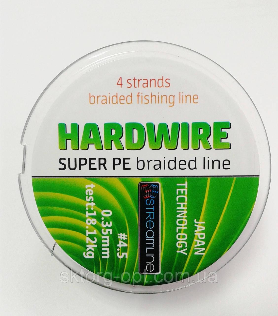 Шнур STREAMLINE HARDWIRE 100m 0.35mm dark green 4-жильный