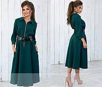 Платье женское длинное из габардина с широким поясом P5485