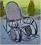 Плетене крісло-гойдалка з ротангу з підніжкою, фото 4